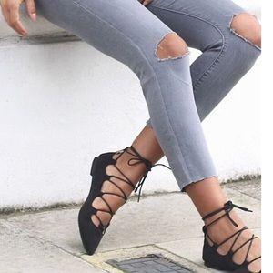Wet seal round toe lace up flats